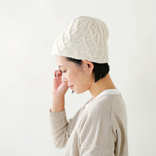 "mature ha.(マチュアーハ)<br />ウールニットキャップ""slant cutting knit cap aran2 lamb"" mk-2135-mt"