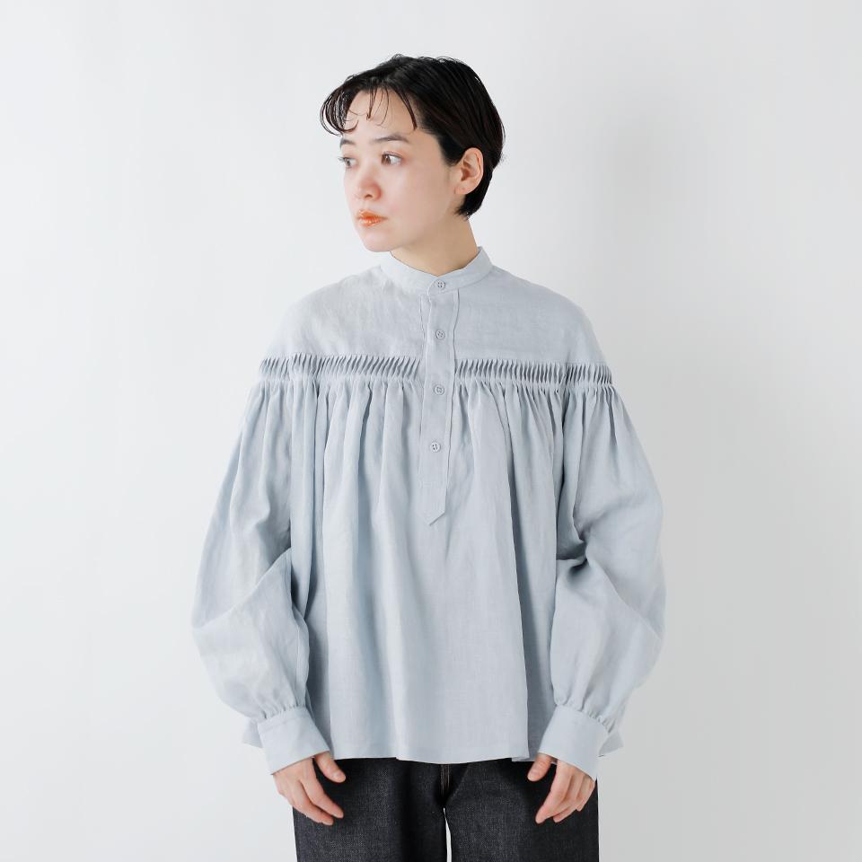 Scye(サイ) リネン高密度長袖タックシャツ 1219-31028-rf