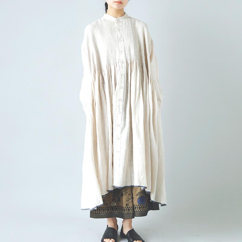 """maison de soil(メゾン ド ソイル) リネンバンドカラーシャツドレス""""Banded Shirt Dress With Mini Pintuck"""" inmds21004"""